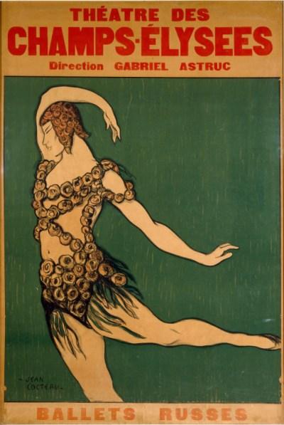 Jean Cocteau, Ballets Russes, 1911. Lithographie en couleur, 200 × 138,5 cm. Victoria and Albert Museum, Londres.