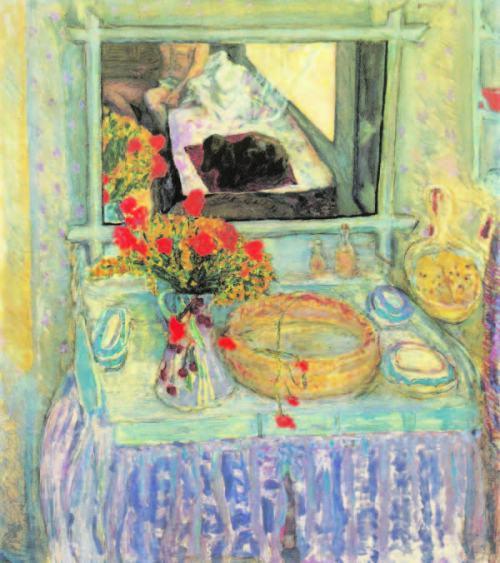 Pierre-Bonnard-Toilettentisch-mit-dem-rot-gelben-Blumenstrauß