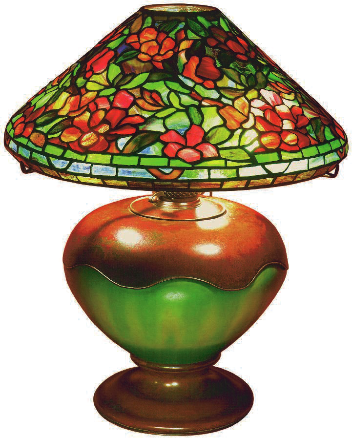 floral oil lamp, Tiffany, Charles De Kay