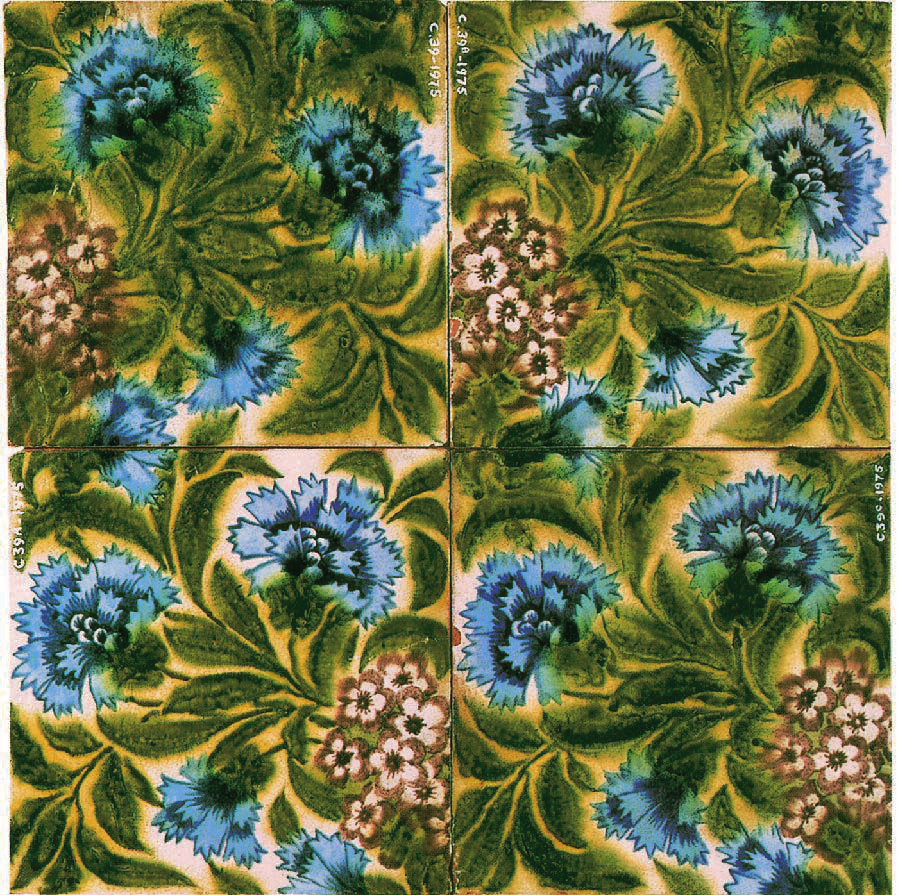 Four Pink and Hawthorn Tiles, 1887, William Morris, Arthur Clutton-Brock