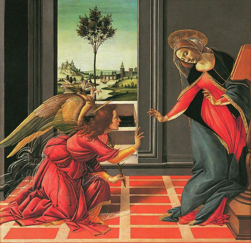 The Annunciation, Sandro Botticelli, 1489, Virgin Portraits, Klaus Carl