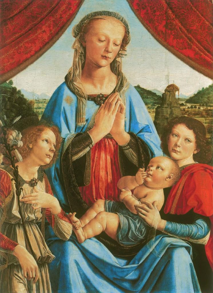 Leonardo da Vinci and Andrea del Verrocchio, The Madonna with the Child and Angels, c. 1470, Leonardo Da Vinci - Artist, Painter of the Renaissance, Eugène Müntz