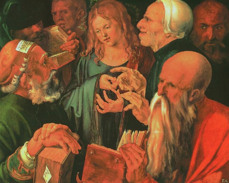 Albrecht Dürer, Christus unter den Schriftgelehrten, 1506. Öl auf Holz, 64,3 x 80,3 cm. Museo Thyssen-Bornemisza, Madrid, Christus in der Kunst, Ernest Renan