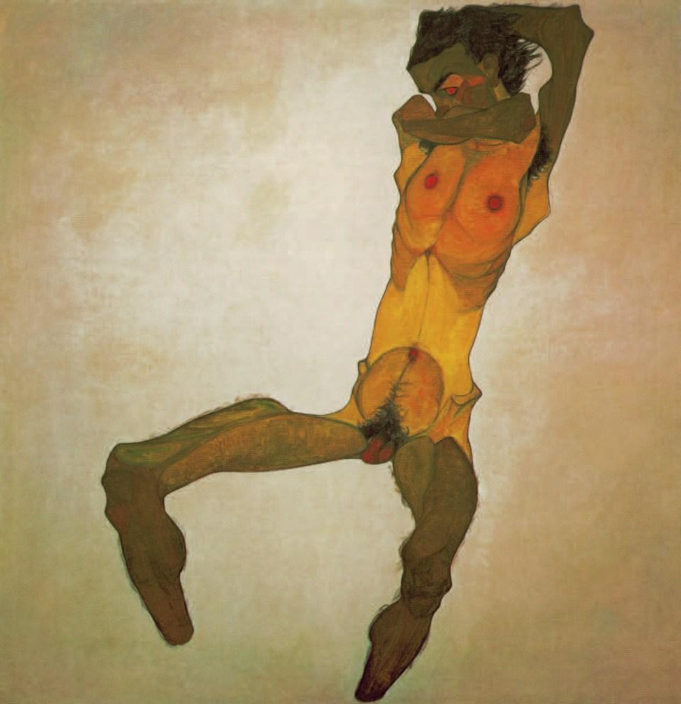 SITZENDER MÄNNLICHER AKT (SELBSTBILDNIS), 1910, Egon Schiele