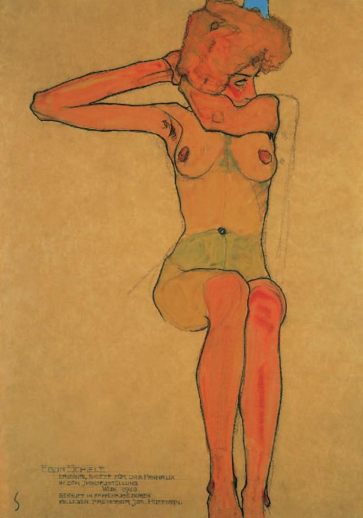 SITZENDER WEIBLICHER AKT MIT ABGESPREIZTEM RECHTEN ARM (GERTRUDE SCHIELE), 1910, Egon Schiele