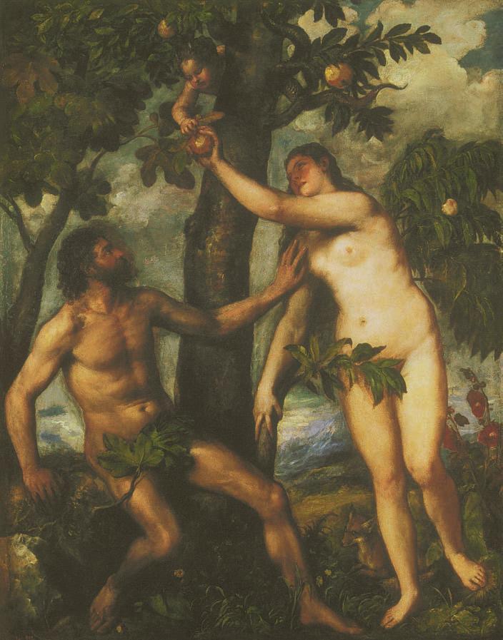 Adam and Eve, Titian (Tiziano Vecellio), c. 1550, Love, Jp. A. Calosse