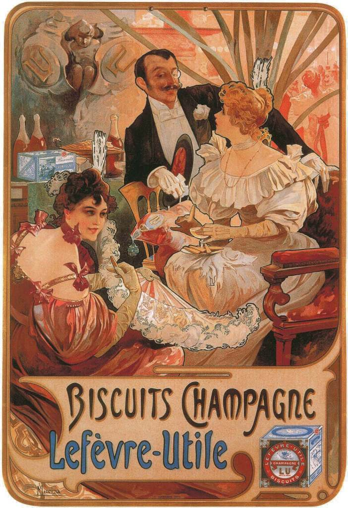 Biscuits Champagne Lefèvre-Utile, 1896, Alfons Mucha, Patrick Bade, Victoria Charles