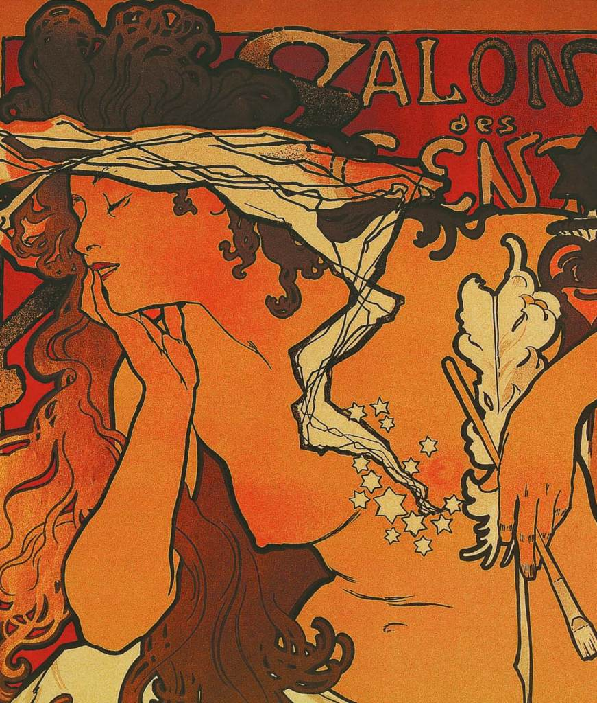 Poster for Salon des Cent: 20th Exposition (detail), 1896, Alphonse Mucha, Patrick Bade, Victoria Charles