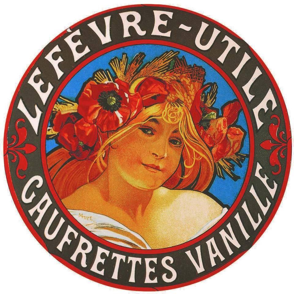 Emballage pour les gaufrettes vanille Lefèvre-Utile (détail), 1900