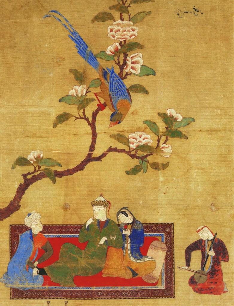 Prince et jeune femme sous une branche fleurie, 1425-1450, Le Livre des Merveilles, Marco Polo