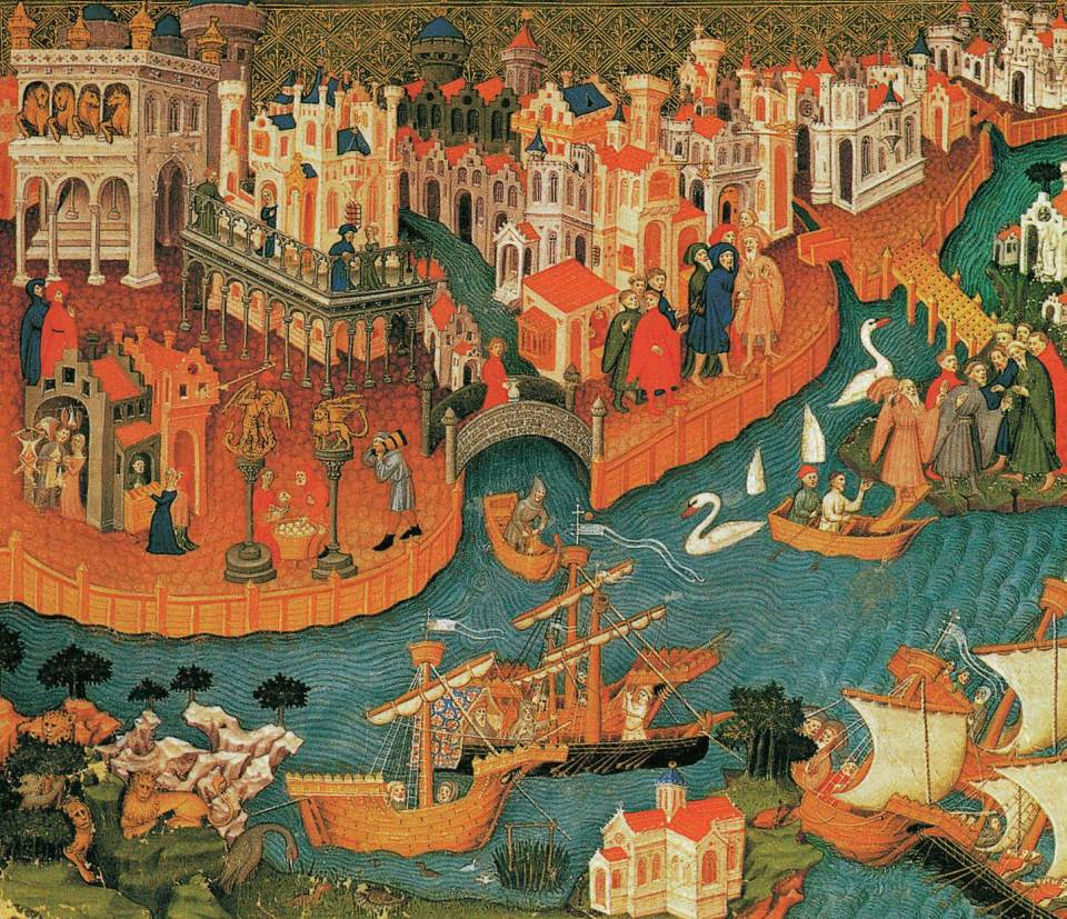 Marco Polo Leaves Venice on His Famous Journey to the Far East, in Roman d'Alexandre, c. 1400, The Book of Wonder, Marco Polo