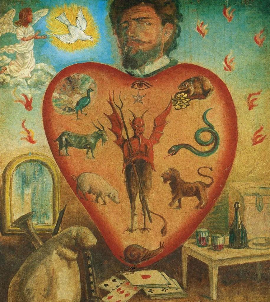 Tableau de mission, dit taolennou : L'Âme en état de péché mortel, XIXe siècle, L'Art du Diable, Satan