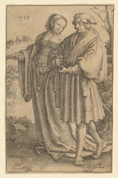 Lucas van Leyden, Der Spaziergang. 1520. Kupferstich, 11,6 x 7,3 cm. The Metropolitan Museum of Art, New York.