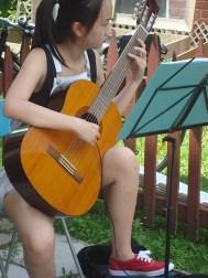 Being serenaded in the garden by a volunteer!