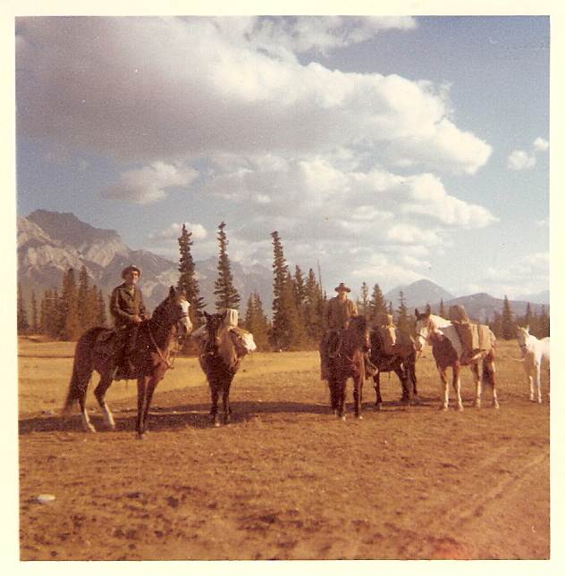 Bert Rowe and Abe Loewen heading to the Moose Horn on boundary patrol, 1964