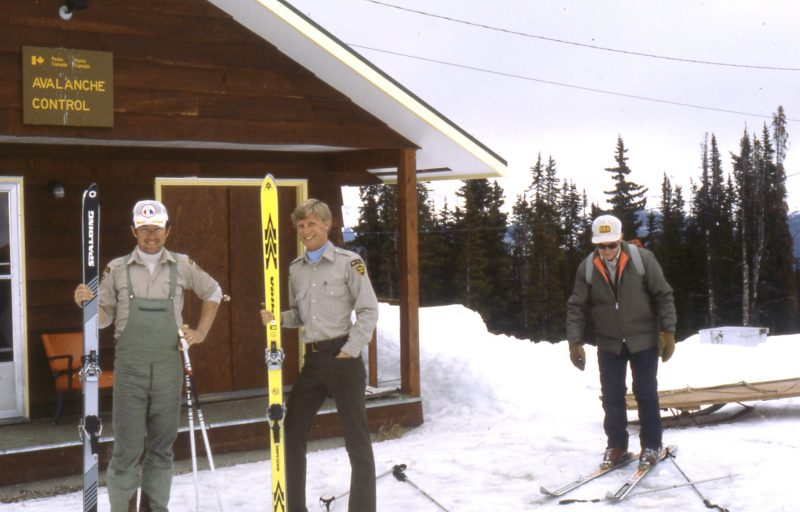 Marv Millasr, John Steele and Toni Klettl. Marmot Basin, Photo courtesy of Terry Damm.