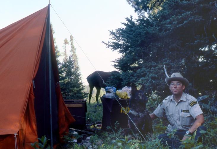 Riding Mountain_Ochre River camp_1983_ Bill Dolan and dog Shep