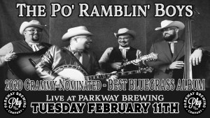 Grammy Nominated Bluegrass at Parkway Brewing February 11th
