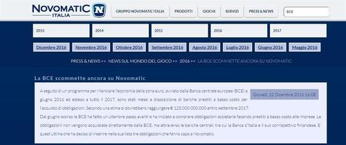 L'Europa delle banche gioca d'azzardo: la BCE investe in Novamatic