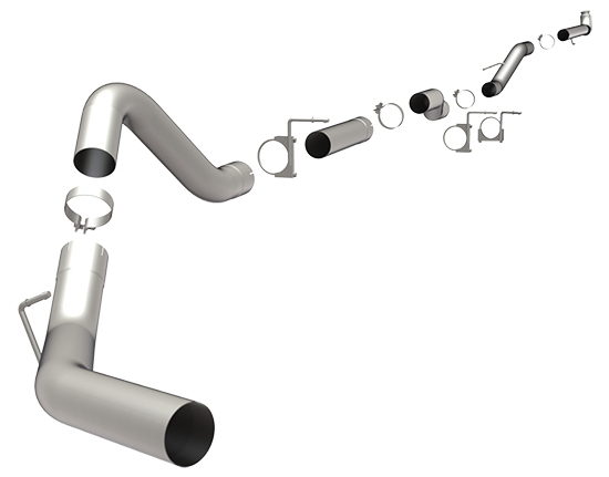 magnaflow aluminized straight pipe 4 downpipe back exhaust for 2001 2007 chevy gmc 6 6l duramax 18980