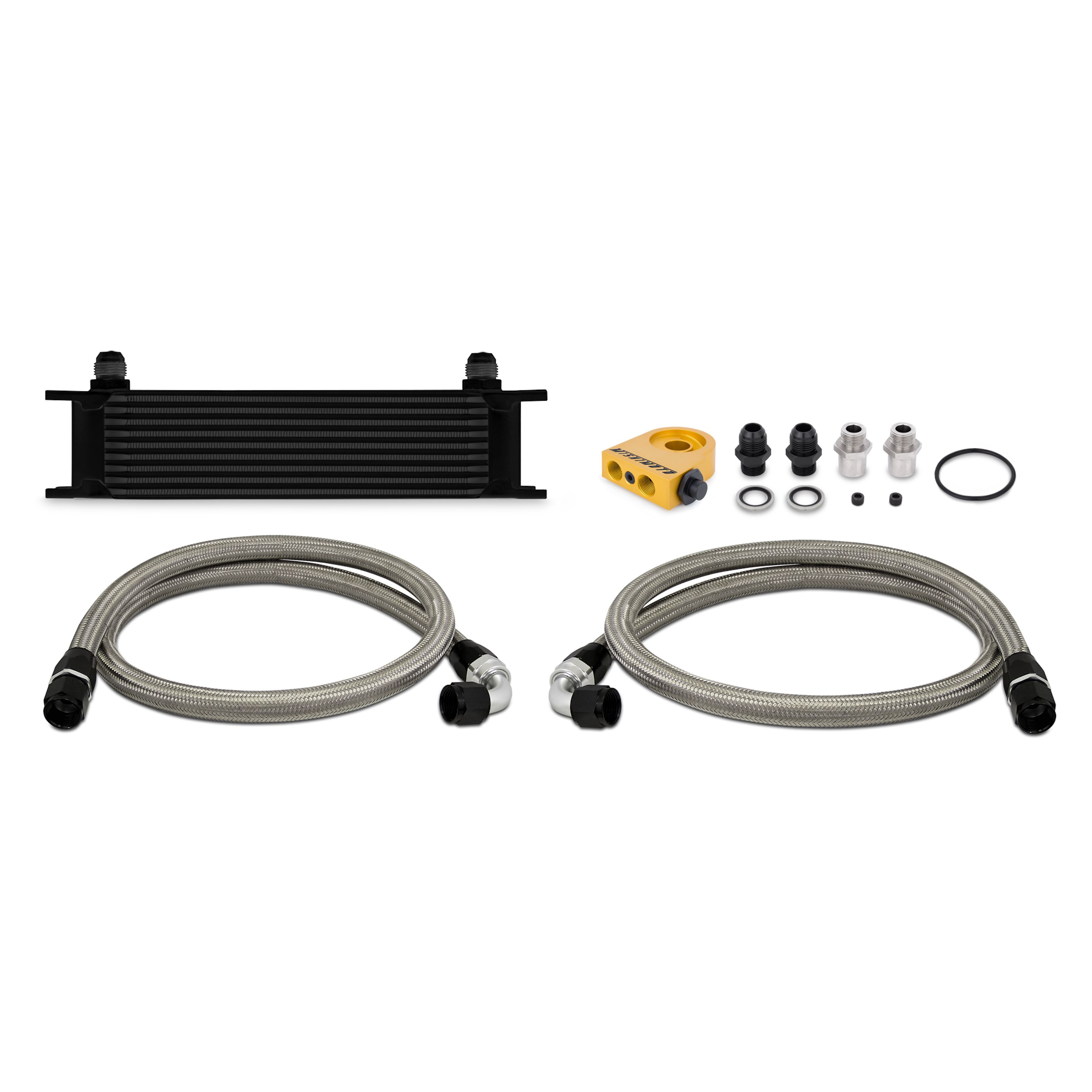 Mishimoto Black Thermostatic Universal Fit 10 Row Oil Cooler