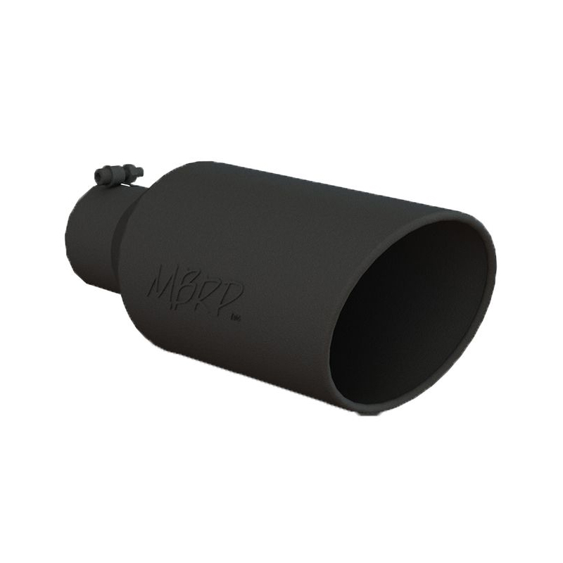 mbrp black finish rolled end 4 inlet x 7 outlet x 18 length exhaust tip t5126blk