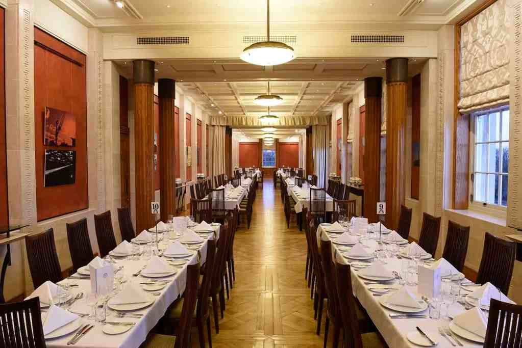 The Long Gallery set up for a function or an event.
