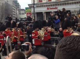 9:59: The band has crossed Ludgate Circus