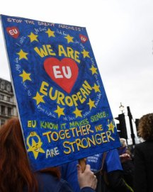 Demontrators from pro-EU group Open Britain protest outside of the Houses of Parliament in central London on March 29, 2017. British Prime Minister Theresa May will formally launch Brexit today after signing the letter to begin the country's departure from the European Union. AFP PHOTO / Justin TALLISJUSTIN TALLIS/AFP/Getty Images