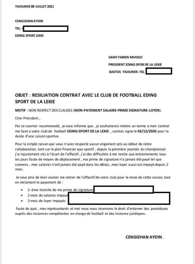 Correspondance officielle du défenseur Turc.