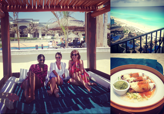 Daybed with our fellow travellers, Julia Rosien and Shayne Benowitz. The view from the room and day bed-side lunch.
