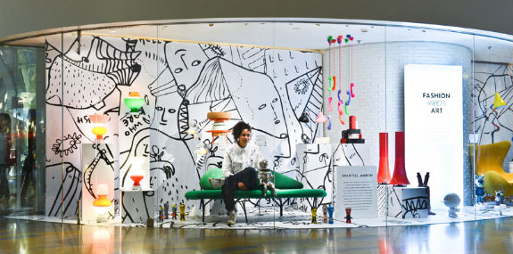 Shantell Martin in front of her work in Beijing.