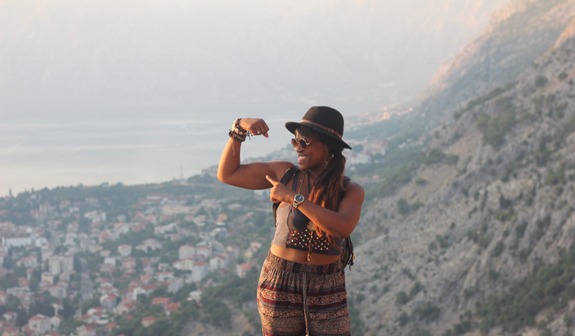 Flexin' for the 'gram after beasting a climb up a mountain in Kotor, Montenegro