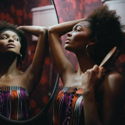 afro-black-woman-looking-in-the-mirror
