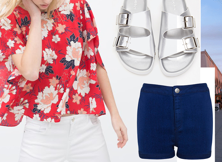 Floral Print Kimono; Nailhead Faux Leather Sandals; Blue High Waist Denim Short