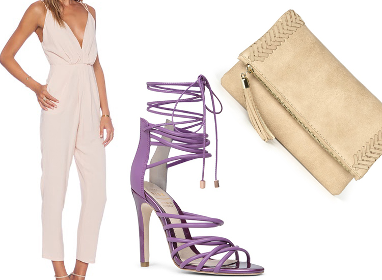Lovers + Friends x REVOLVE My Way Jumpsuit; Birchell High Heeled Sandals; Sydnee Clutch
