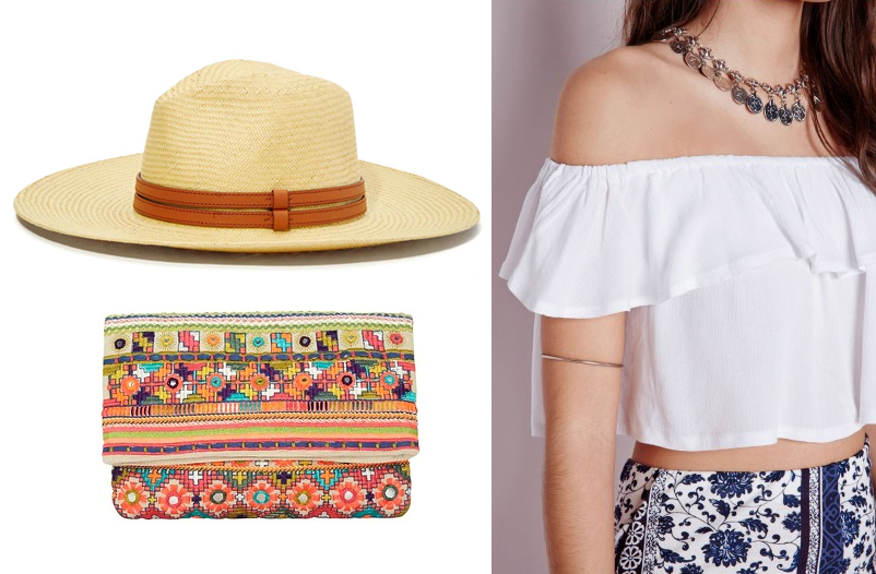 Panama Straw Hat from Nasty Gal, Star Mela Embellished Foldover Clutch from Intermix and Muslin Bardot Crop Top from MissGuided