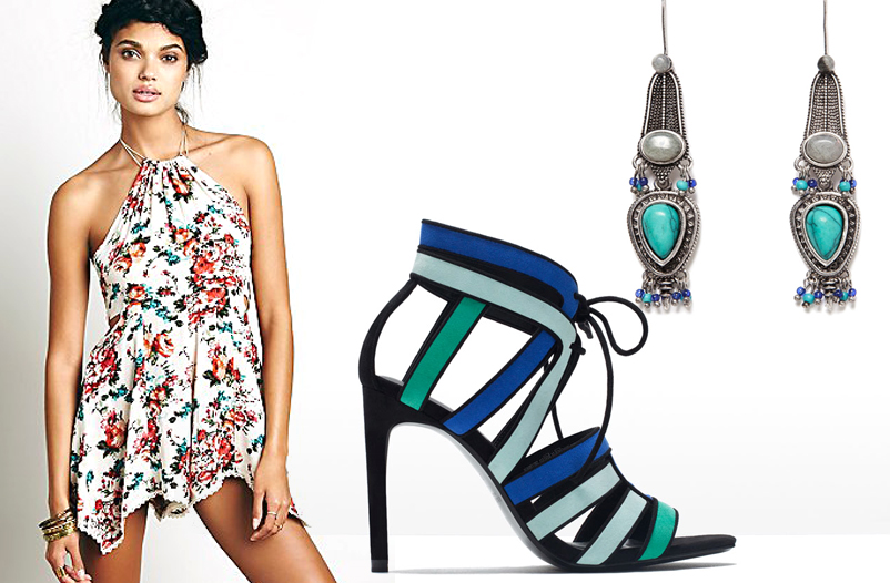 Floral Romper by Free People; Combo Sandal and Earrings by Zara.
