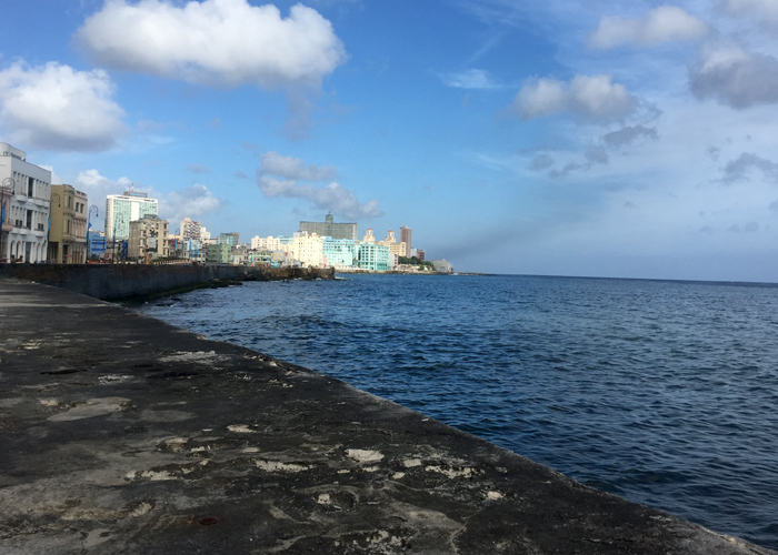 An empty malecón, perfect for a early morning or late afternoon rum and where the city descends to every night