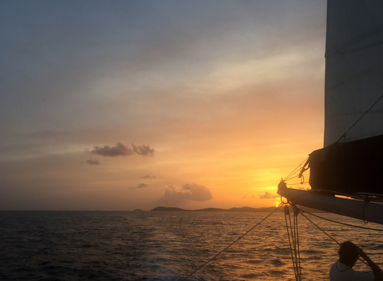 Sailing towards the sunset on the Heavenly Days catamaran cruise, a definite treat for Bolongo Bay guests!