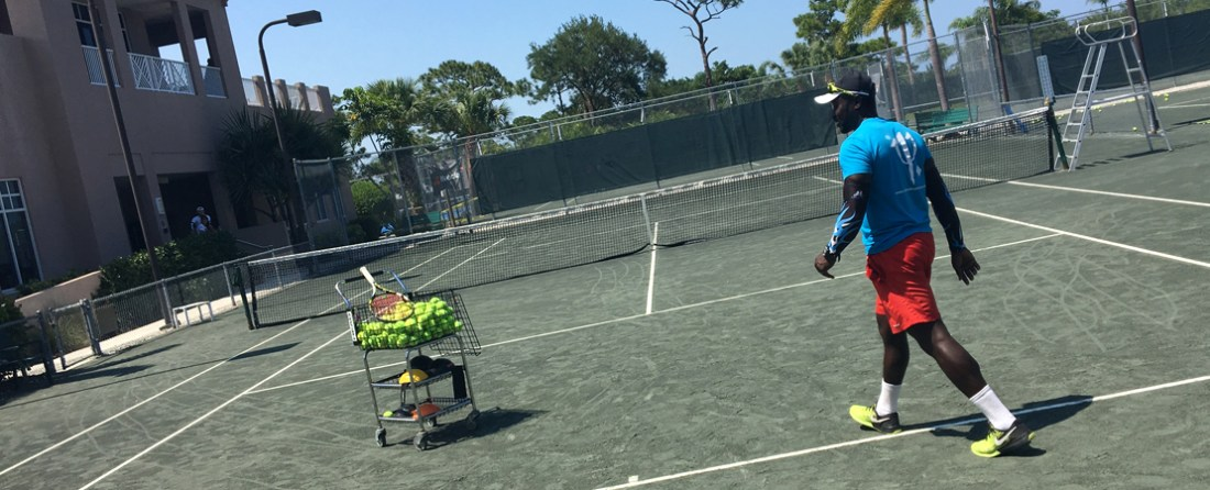 Mid-day sweat session with Club Med Academy tennis coach Rasheed Sido