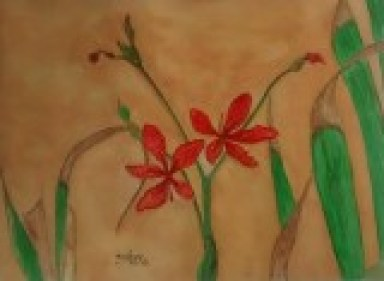 """Red Flowers in watercolor on 300 GSM paper of size 9"""" x 12"""""""