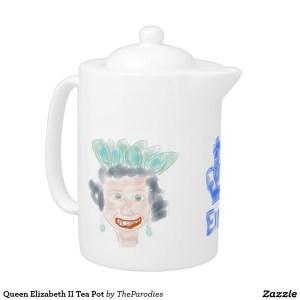 Queen Elizabeth II Parody Teapot Left View