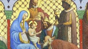 (Détail bois peint, autel de la chapelle Notre-Dame des Anges d'Orvault. Scènes de l'adoration des mages. Photo Vincent Gautier)