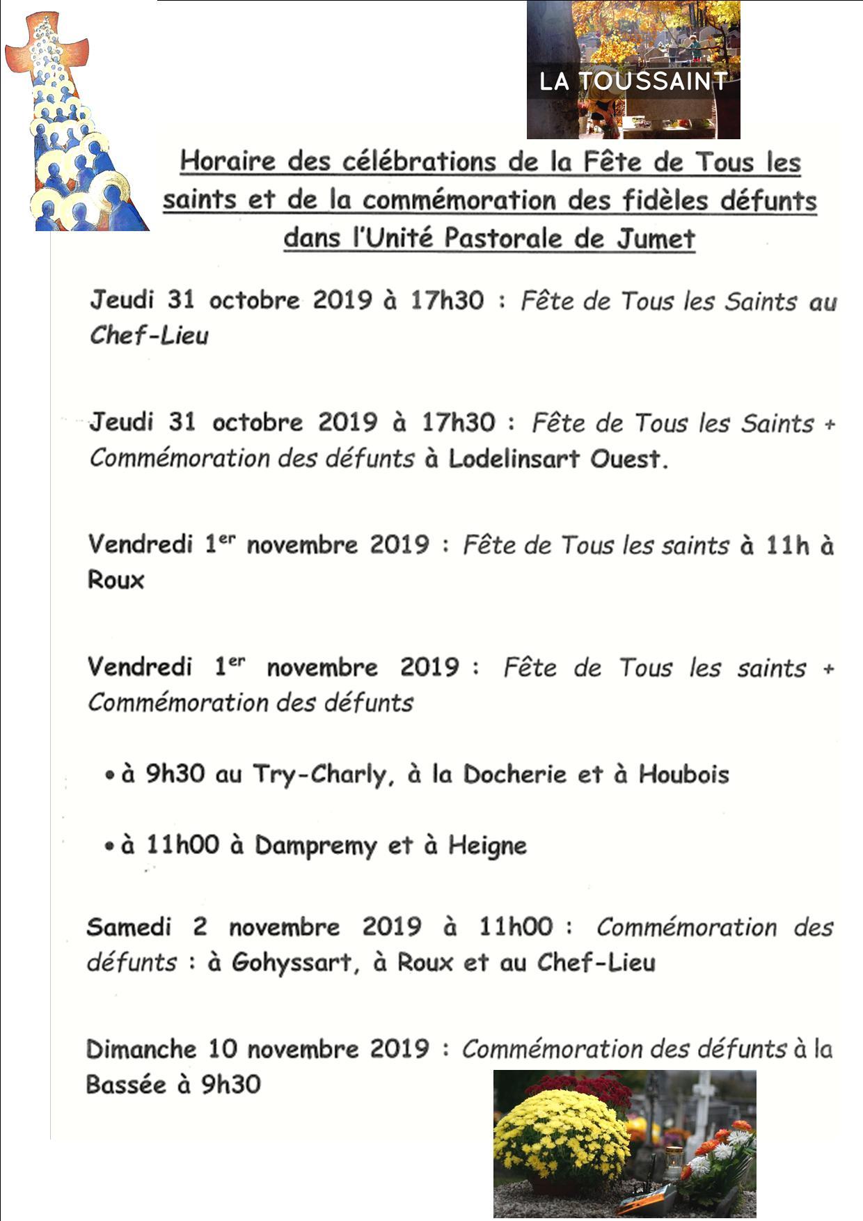 calendrier toussaint 2019