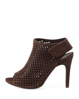 PEDRO GARCIA (Sofia) - Perforated Suede Peep-Toe Bootie