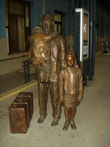 Winton children at train station