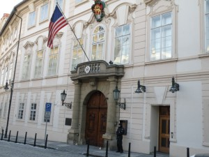 flag and guard at USA embassy, Prague