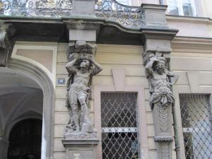 architectural art, arch support figures, Prague