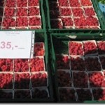 raspberries at a farmer's market, Prague